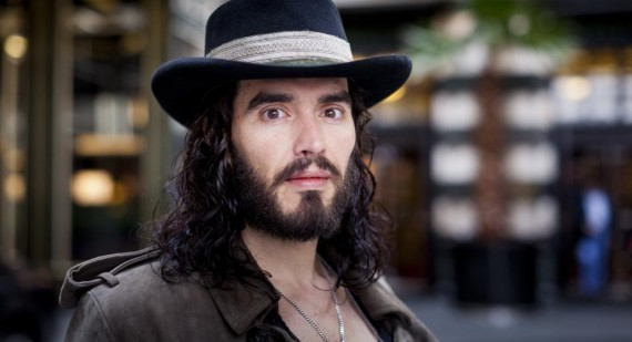 What was Russell Brand saying to the Jonas Brothers last night?
